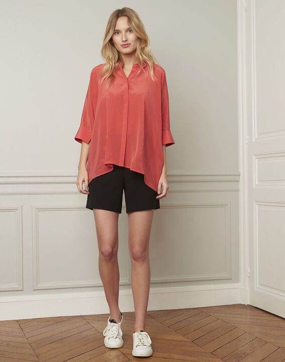 Vania coral flared silk blouse (2) - 1-2-3