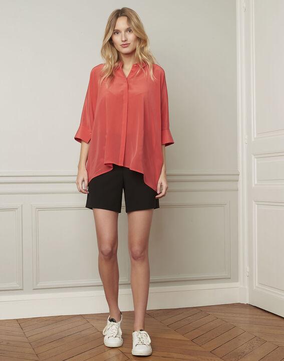 Korallenrote ausgestellte Bluse aus Seide Vania (2) - Maison 123