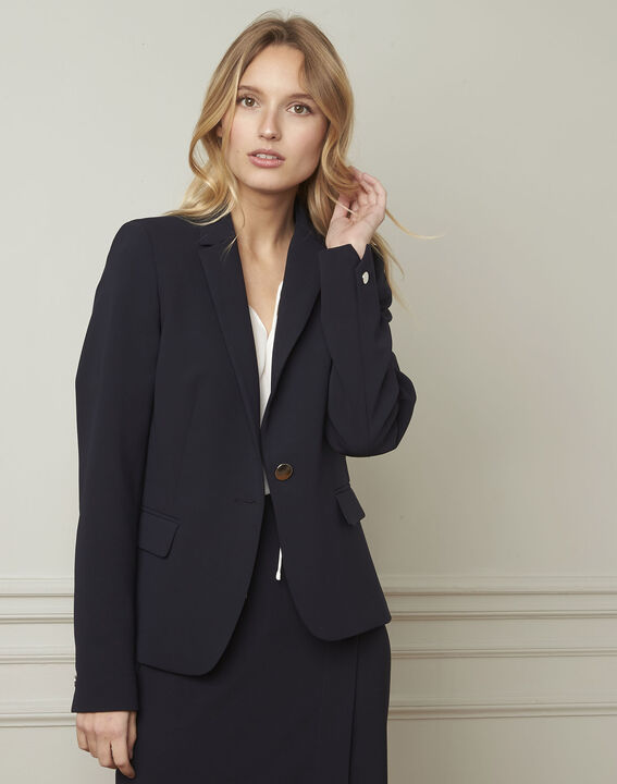 Eve navy tailored microfibre jacket (1) - Maison 123