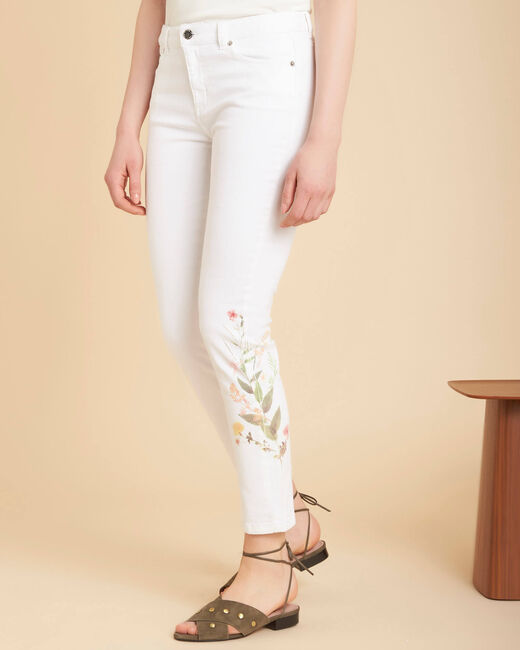 Vendôme 7/8 length printed white jeans (2) - 1-2-3