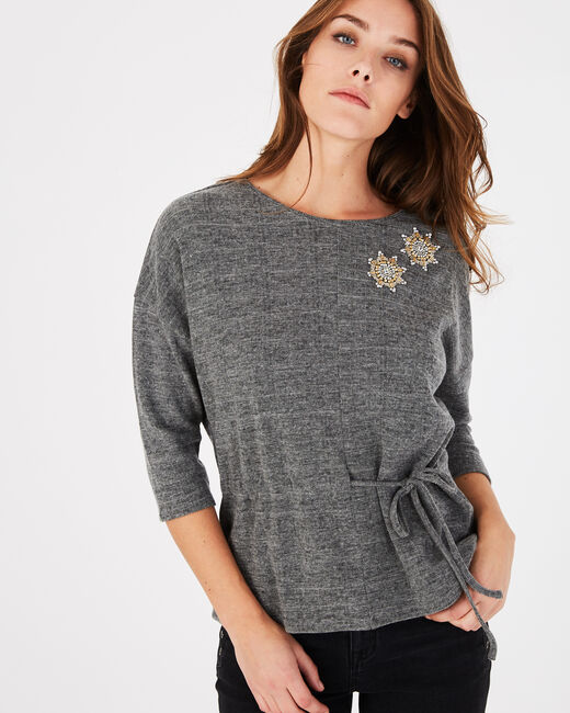 Tee-shirt gris chiné brodé Perles (2) - 1-2-3
