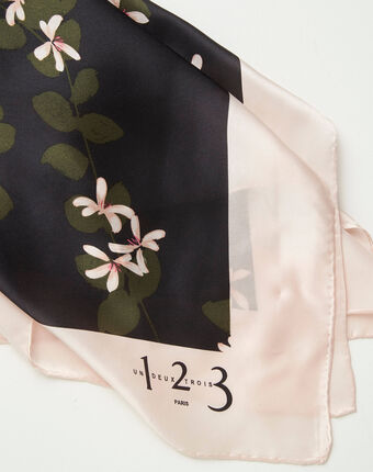Aglae floral printed square scarf in silk light pink.