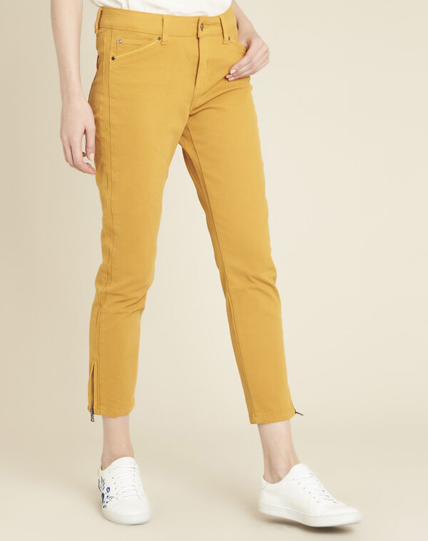 Jean jaune slim 7/8ème satin de coton vendome (1) - 1-2-3
