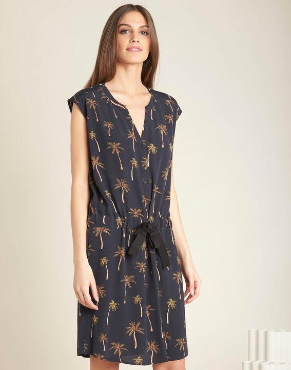 Palmeraie black printed dress with granddad neckline (3) - 1-2-3