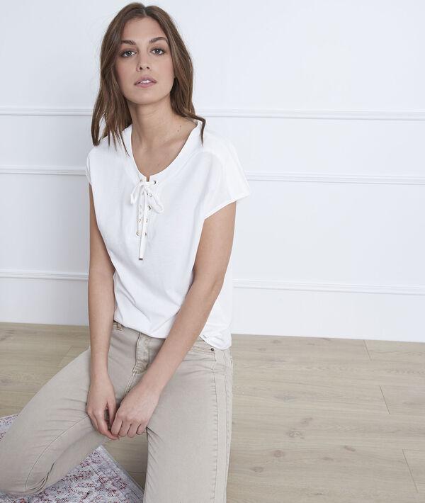 Wit T-shirt van katoen met hals met vetersluiting Porto PhotoZ   1-2-3