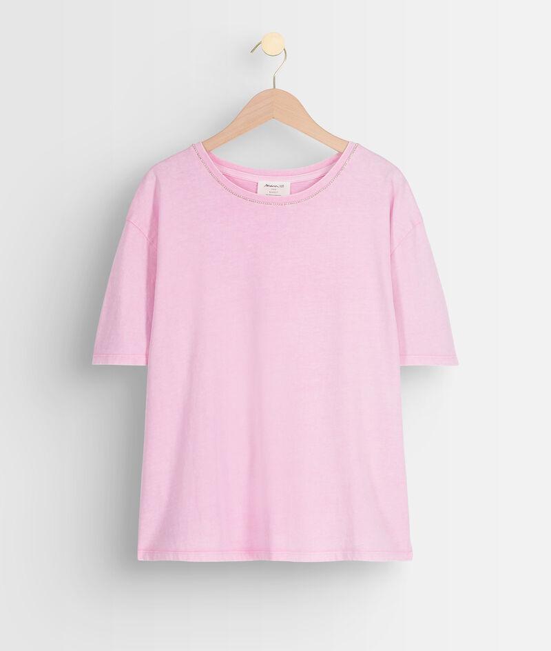 Tee-shirt en coton bio et col strassé parme Inox PhotoZ | 1-2-3