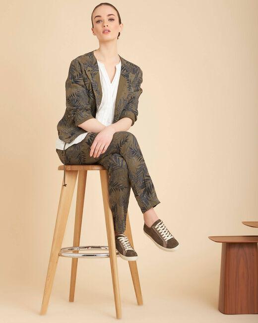 Pantalon cigarette kaki imprimé palme en lin Jill (1) - 1-2-3