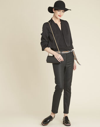 Claudia black blouse with lace yoke black.