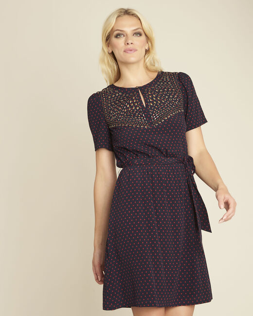 Dany navy blue printed dress (2) - 1-2-3