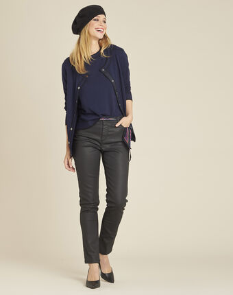 Bella navy blue sweater with rounded neckline and buttons on the shoulders navy.