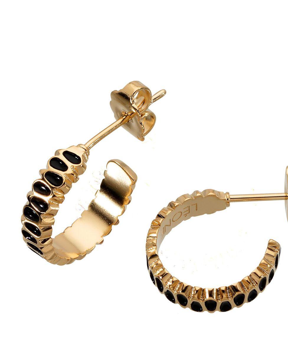Boucles d'oreilles mini créoles pétale noir Bijoux Léone PhotoZ | 1-2-3