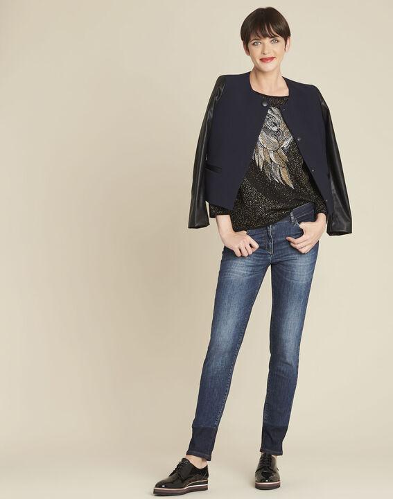 Schwarzer Pullover mit Strass und Eulenmotiv Bibou (2) - Maison 123