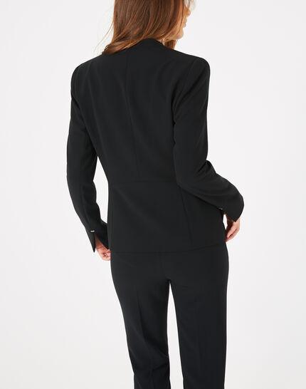 Veste de tailleur noire mi-longue Majeste (4) - 1-2-3