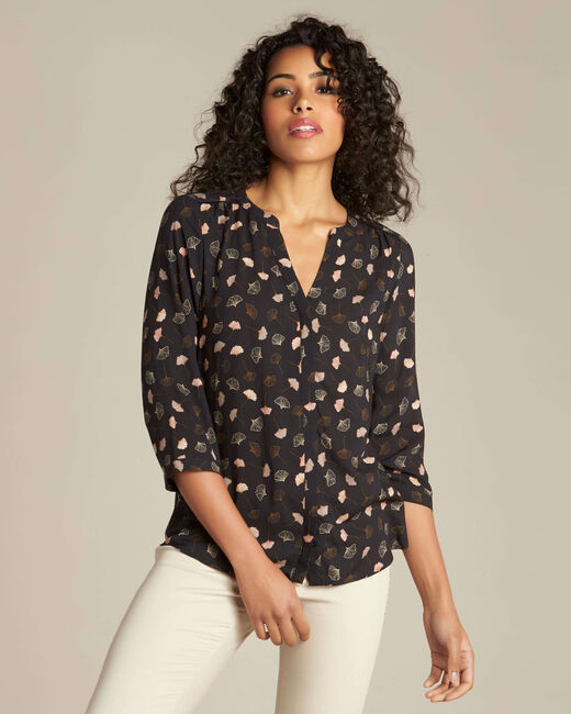 Arletty black gingko printed blouse (2) - 1-2-3