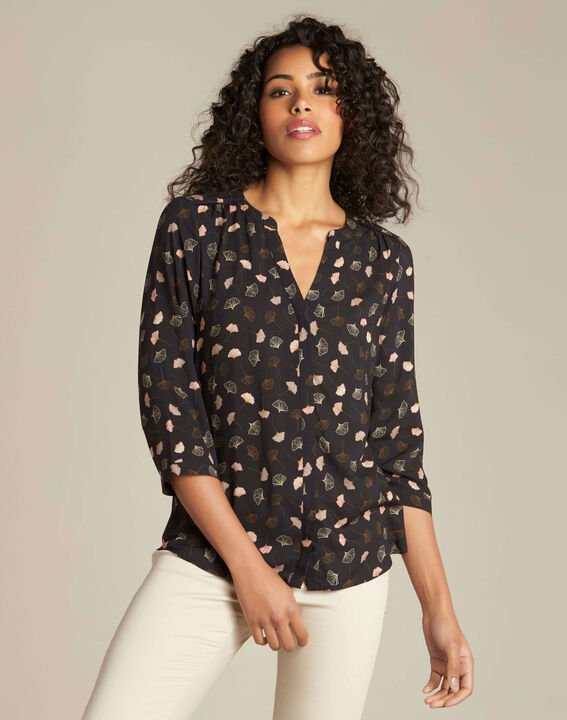 Arletty black gingko printed blouse (3) - 1-2-3