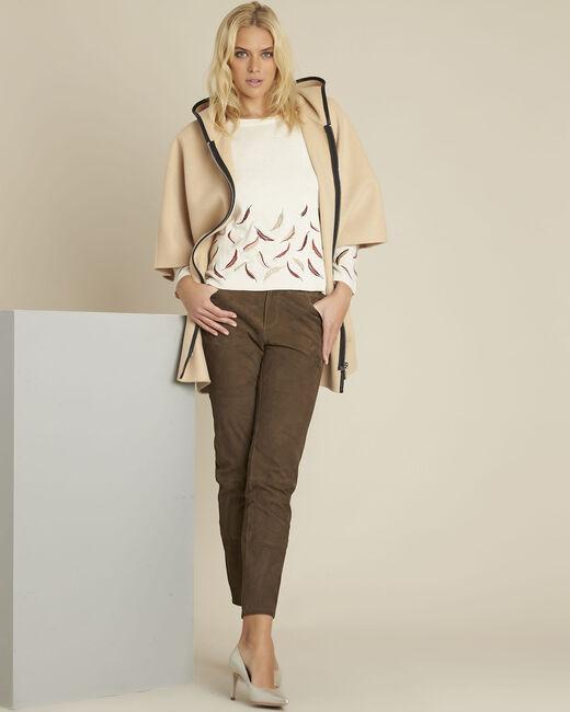 Ecrufarbener Pullover mit Stickerei aus Wollgemisch Birdie (1) - 1-2-3