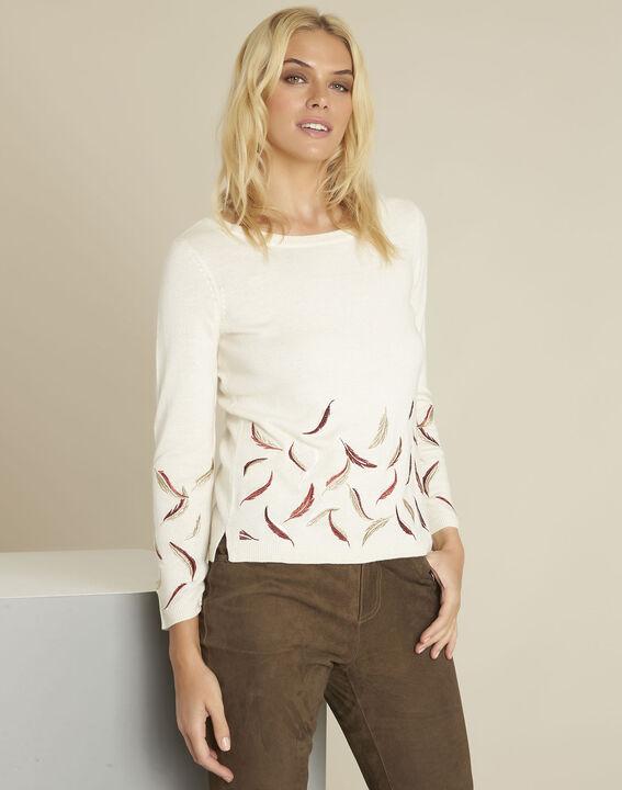 Ecrufarbener Pullover mit Stickerei aus Wollgemisch Birdie PhotoZ | 1-2-3