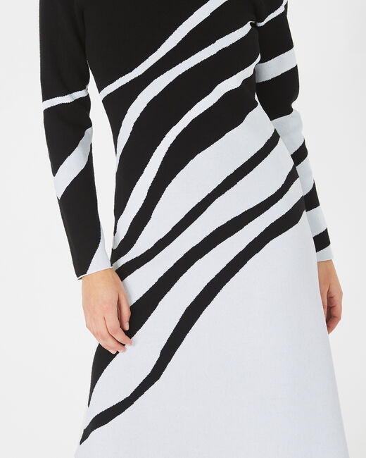 Astre black and white graphic knit dress (2) - 1-2-3