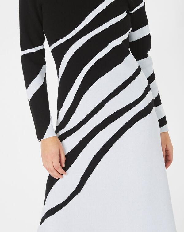 Robe noir et blanc graphique tricot astre à