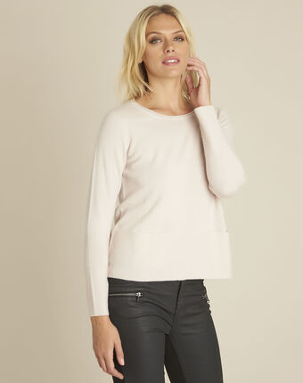 Pull rose cachemire poches brume poudre.