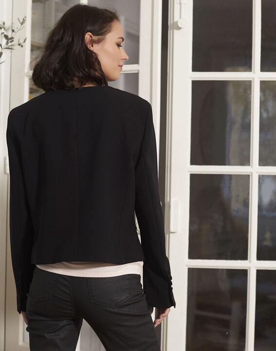 Schwarze Jacke aus Mikrofaser Charme (4) - 1-2-3