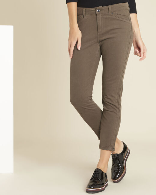 Opéra slim-cut khaki jeans with zip detailing (1) - 1-2-3