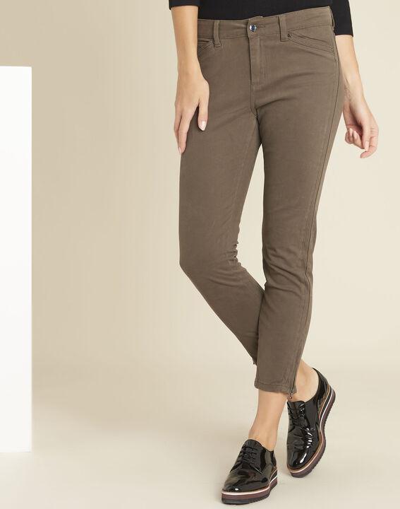 Khakifarbene Slim-Fit-Jeans mit Reißverschlüssen Opera PhotoZ | 1-2-3