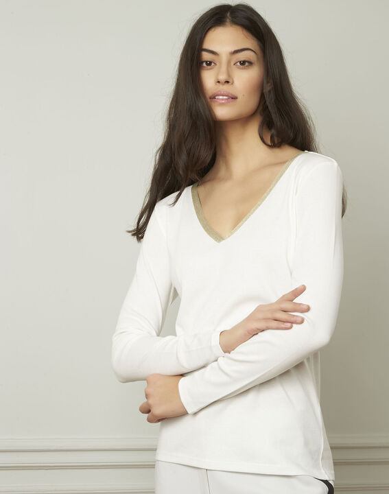 Tee-shirt écru encolure V lurex Etincelante (2) - Maison 123