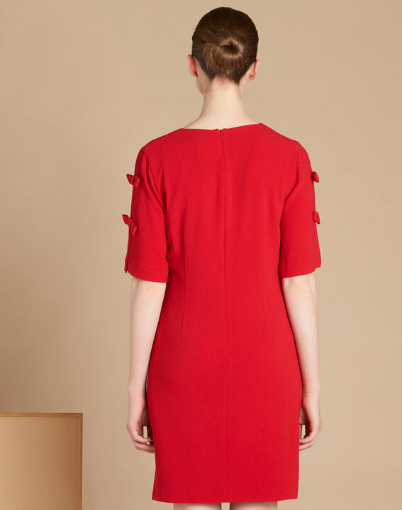 Ivoire red crepe dress with bows (4) - 1-2-3