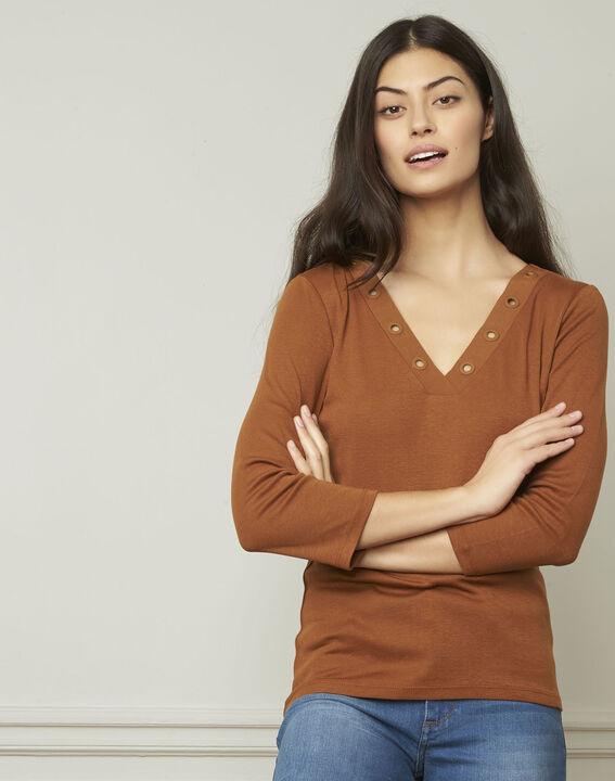 Braunes T-Shirt mit V-Ausschnitt mit Ösen Basic (1) - Maison 123