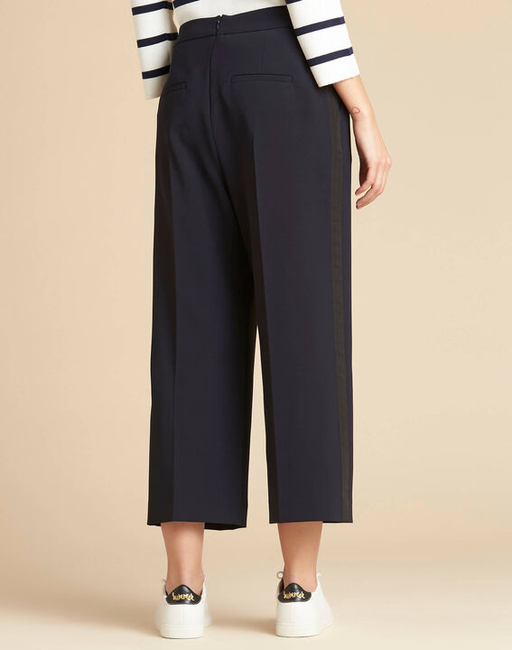 Vada wide-cut navy blue trousers with crease (3) - 1-2-3