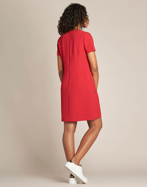 Gerades rotes Kleid mit Ösen Adelie (4) - 1-2-3