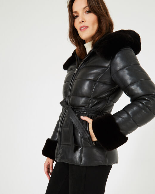 Harlow black leather puffer jacket (1) - 1-2-3