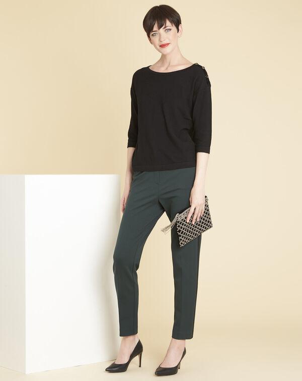 Zwarte trui met fantasiedetails aan de schouders Betty (2) - 37653
