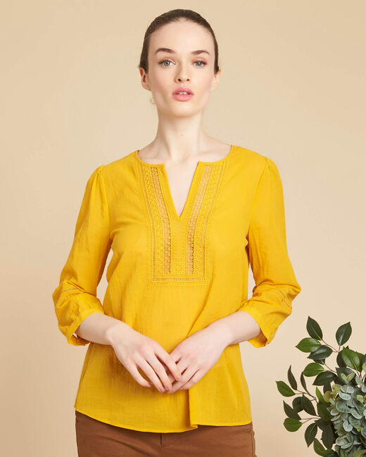 Gabi yellow blouse with lace at the neckline (2) - 1-2-3
