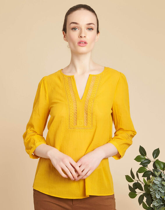 Gabi yellow blouse with lace at the neckline (3) - 1-2-3
