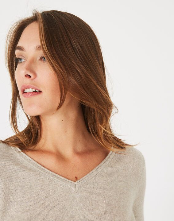 Paquerette beige cashmere sweater with V-neck (3) - 1-2-3