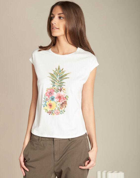 Ecrufarbenes T-Shirt Ananas Emerveille (3) - 1-2-3