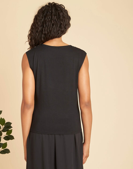 Geptune black print dual-fabric blouse (3) - 1-2-3