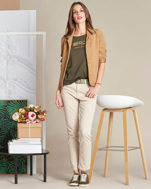 Tee-shirt kaki sérigraphié Extra (1) - 1-2-3
