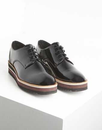 Ludivine black patent leather platform derbies black.