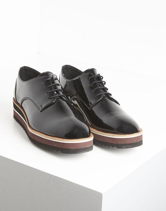 Lackierte schwarze Derby-Schuhe mit Plateau Ludivine (2) - 1-2-3