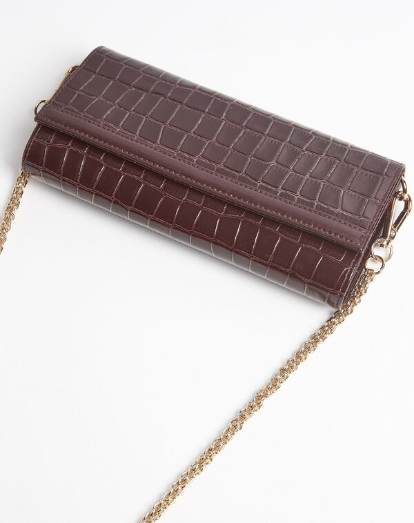 Isabelle crocodile effect red leather clutch bag (2) - 1-2-3