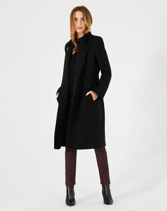 Manteau long noir en laine johan noir.