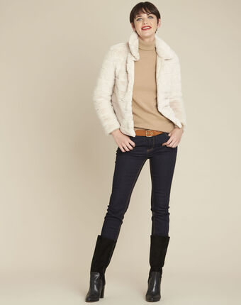 Laura ecru reversible faux fur jacket ecru.