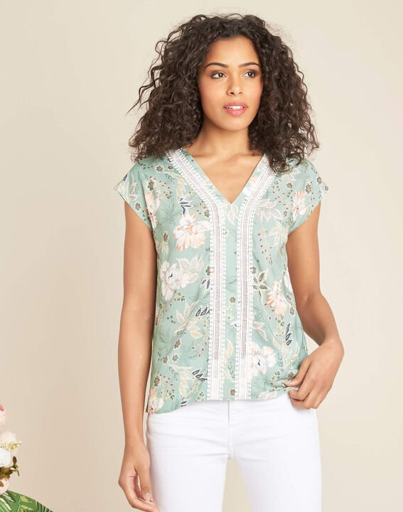 Amir light green blouse with floral print and lace (3) - 1-2-3