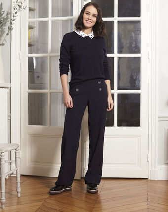 Boppy navy pullover with decorative shirt collar navy.