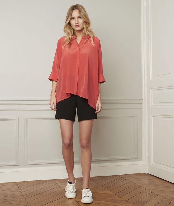 Koraalrode wijde blouse van zijde Vania PhotoZ | 1-2-3