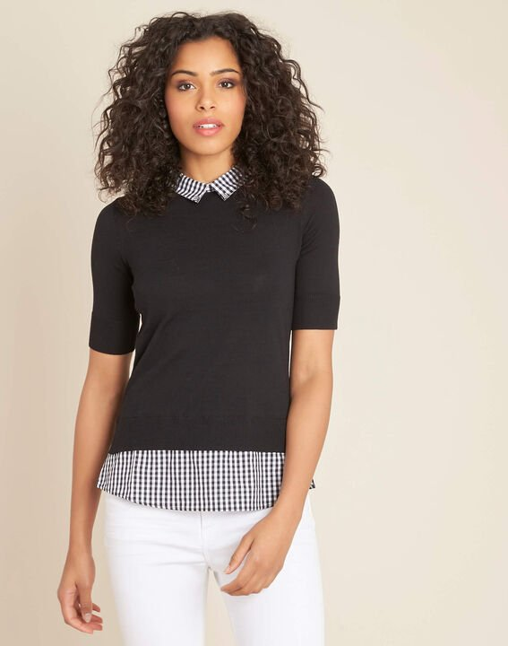Noella black sweater with contrasting shirt collar (3) - 1-2-3