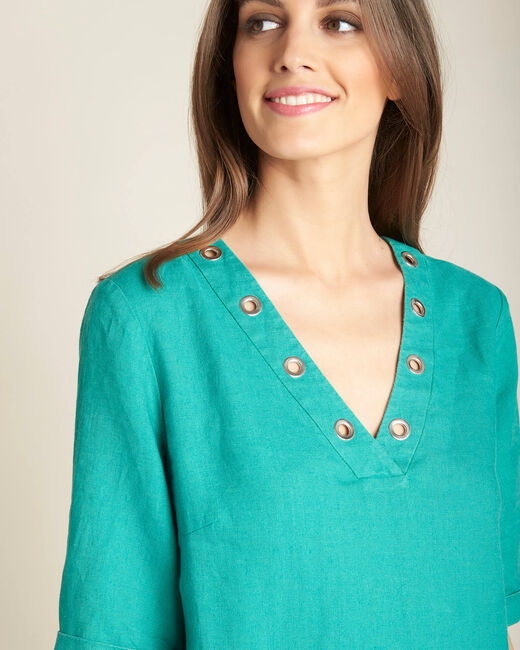 Pavot blue linen dress (1) - 1-2-3